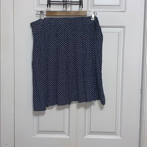 Navy and white polka dot mini skirt